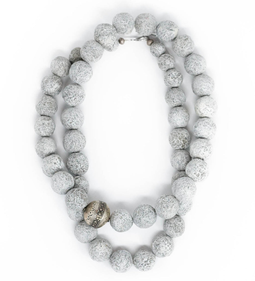 Grey Long Ball Necklace with Silver Bead