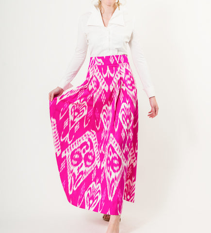 Long Ikat Skirt: Pink