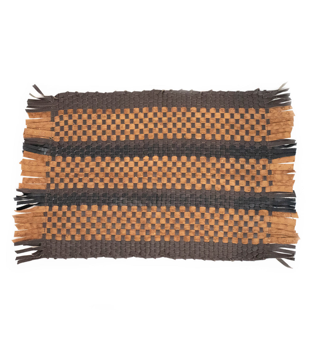 Loom Leather Placemat: Camel, Black, Brown