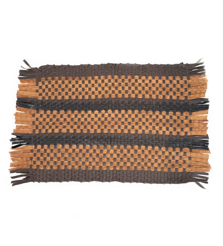 Wabi Sabi Leather Pillow with Fringe: Brown