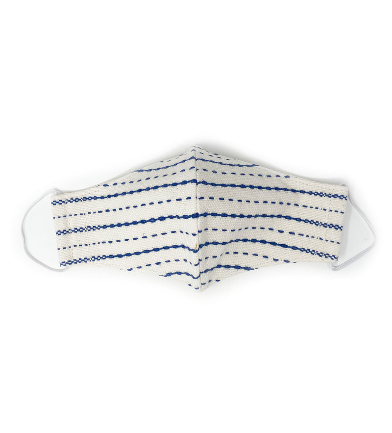 Protective Face Mask: Woven Stripe Blue