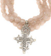Luminescent African Glass: Blush Pink Triple with Cross