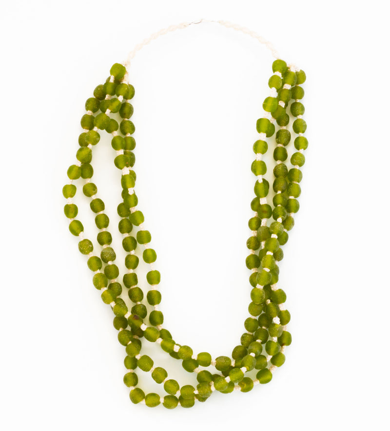 Luminescent African Glass: Olive Green Four Strand