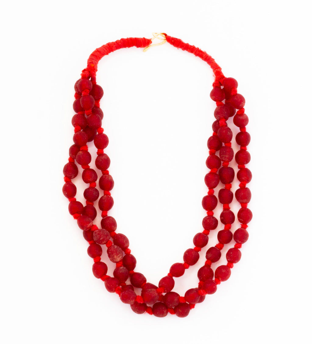 Luminescent African Glass: Red Triple Small Bead