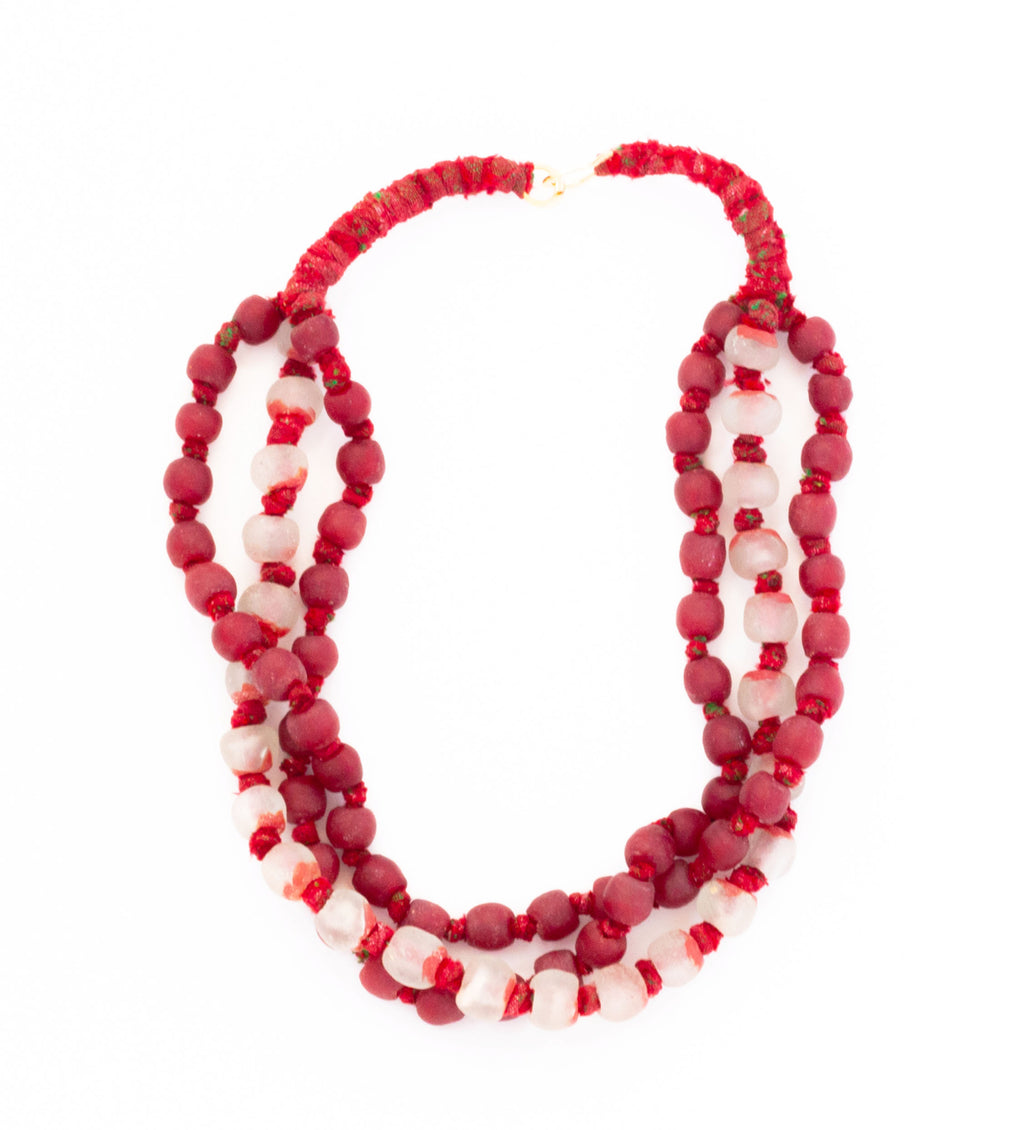 Luminescent African Glass: Red and Quartz Triple Strand