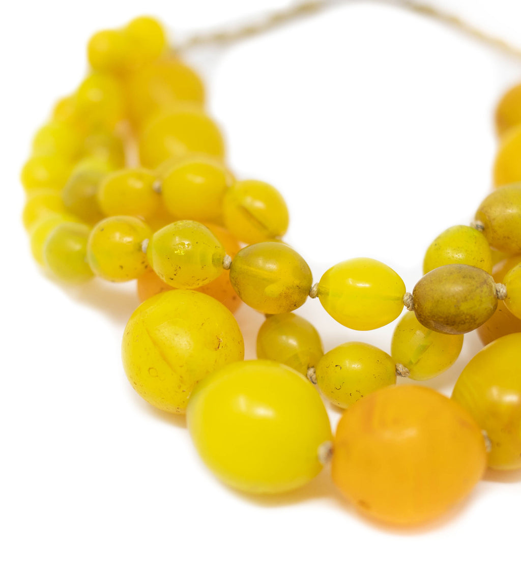 Luminescent African Glass: Yellow Triple Strand Princess