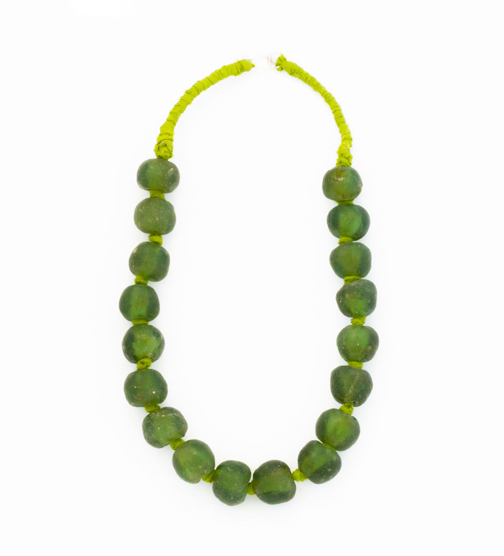 Luminescent African Glass Bead: Green Single Strand