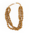 Luminescent African Glass Beads: Amber Triple Strand