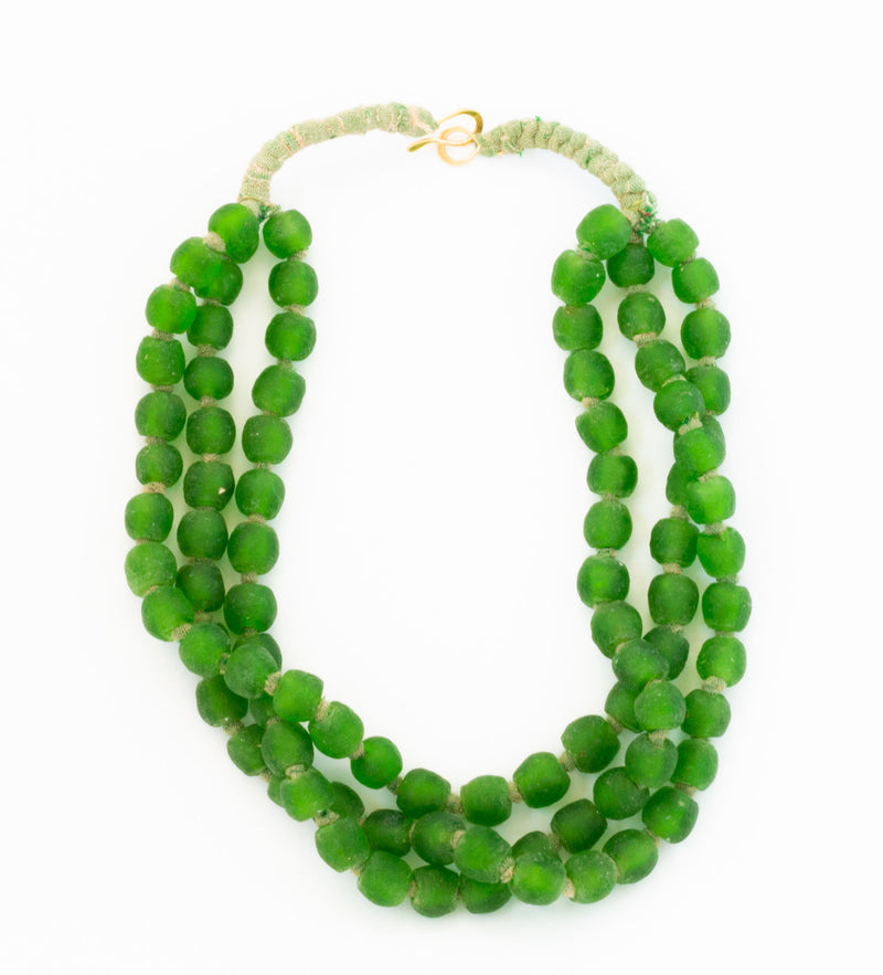 Luminescent African Glass Beads: Green Short Triple Strand