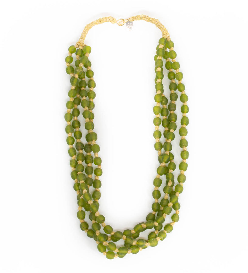 Luminescent African Glass Beads: Green Triple Strand