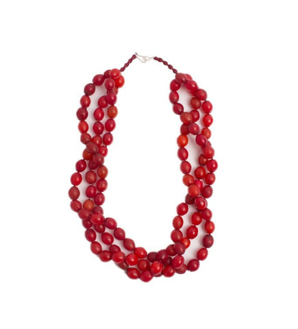 Luminescent African Glass Beads: Red Triple Strand Long