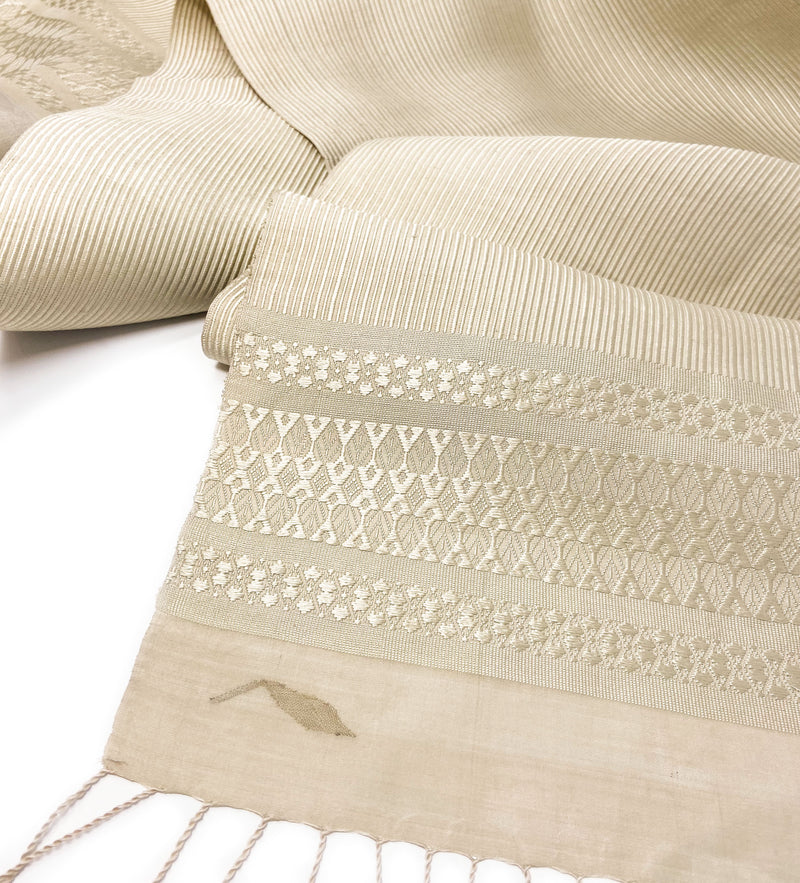 Luminous Laotian Shawl: Pearl