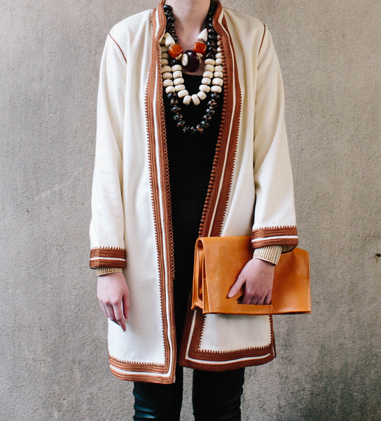 Women's Moroccan Jacket: Copper on White