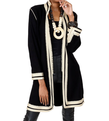Women's Moroccan Jacket: Navy on White