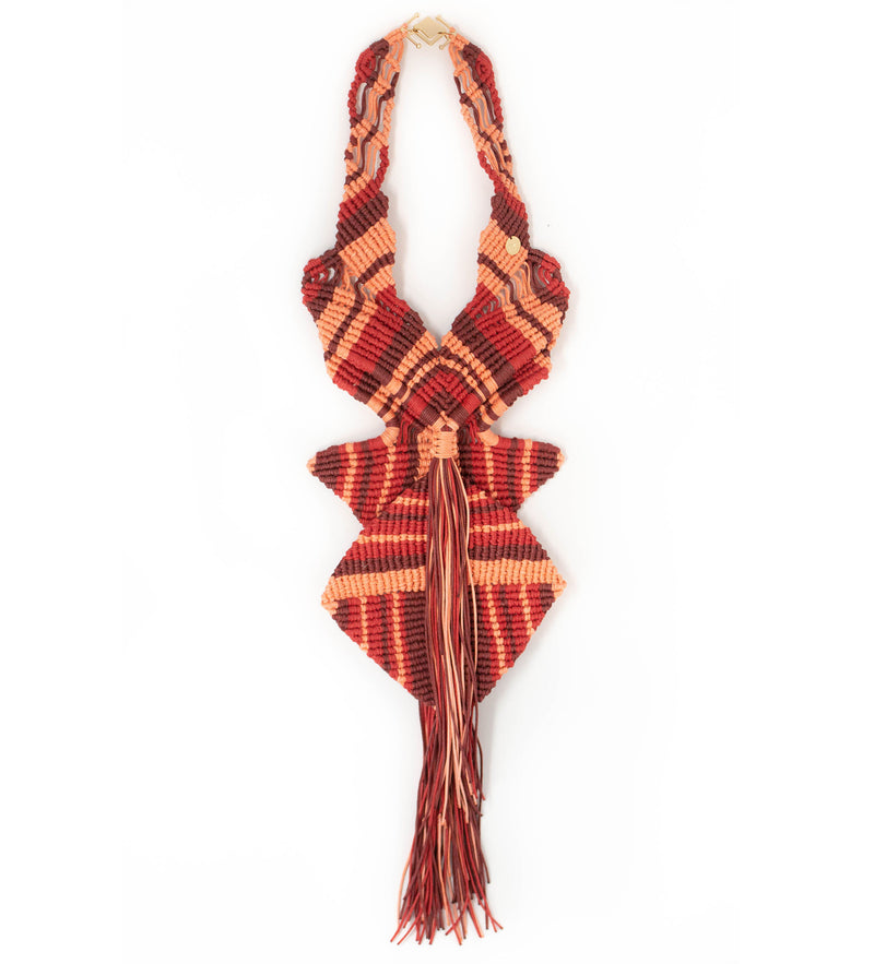 Macrame Statement Necklace: Coral