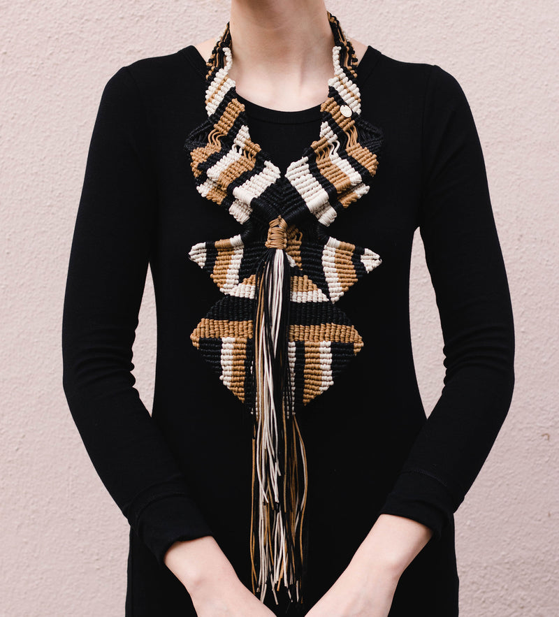 Macrame Statement Necklace: Natural/Black