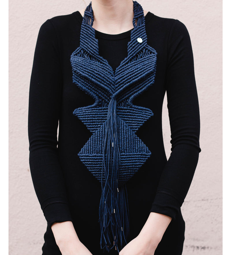 Macrame Statement Necklace: Navy