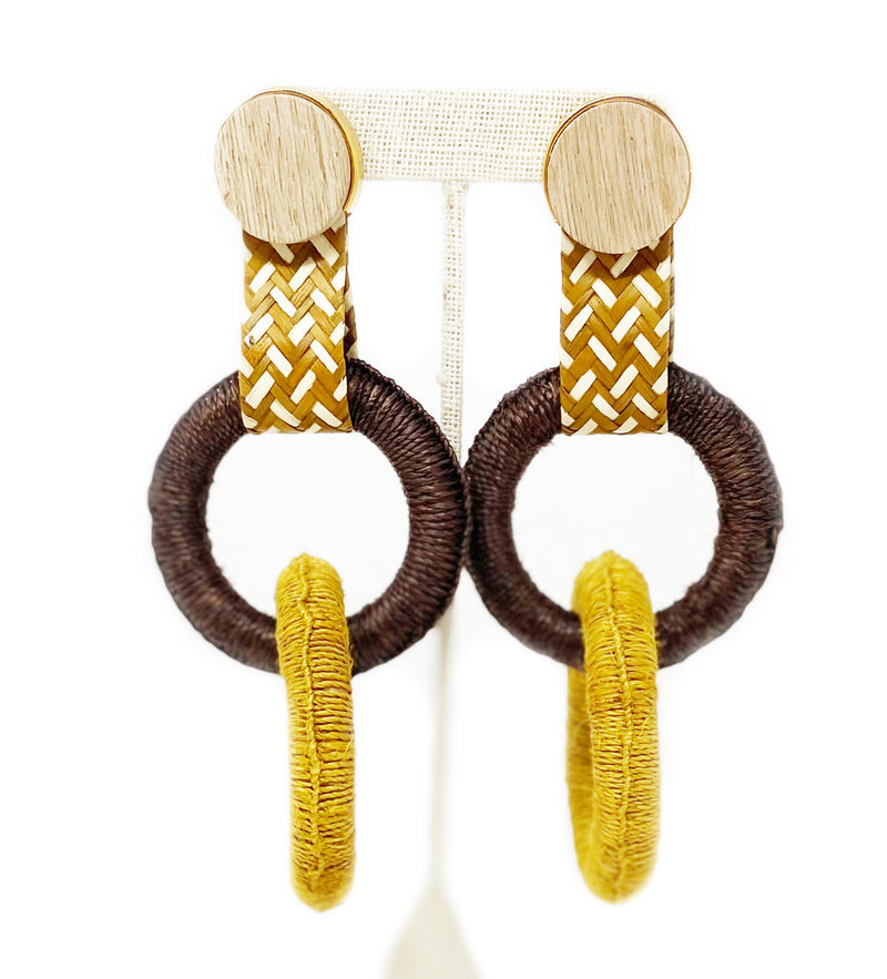 Maguey Double Hoop Earring: Black and Mustard