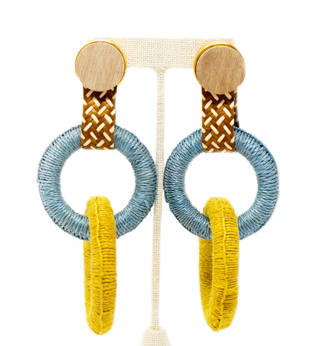 Maguey Double Hoop Earring: Sky and Chartreuse