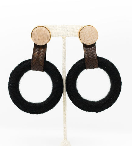 Small Fringe Crescent Earring: Terracotta and White