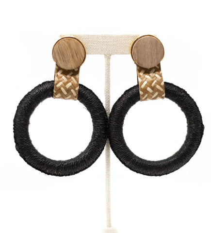 Maguey Double Hoop Earring: Natural, Blush and White