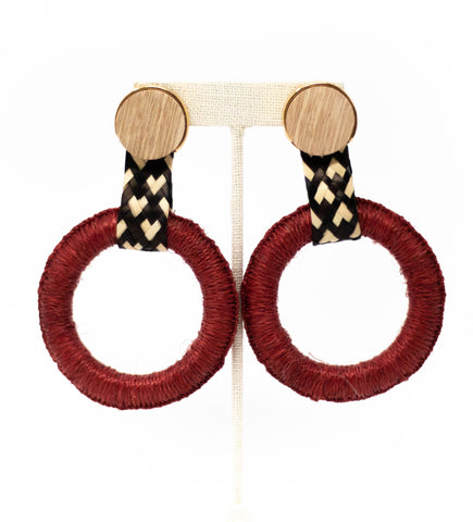 Fringe Crescent Earring: Blush and Fuchsia