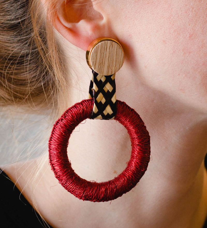 Maguey Hoop Earrings: Terracotta