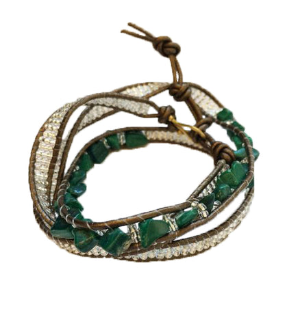 Malachite Stone Wrap Bracelet: Earth Collection