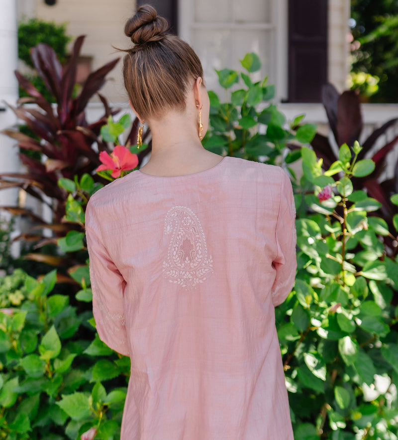 Mamta Embroidered Caftan: Blush