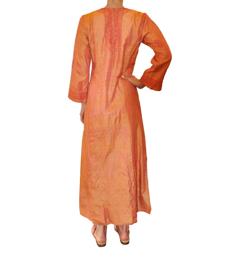 Mamta Embroidered Caftan: Orange