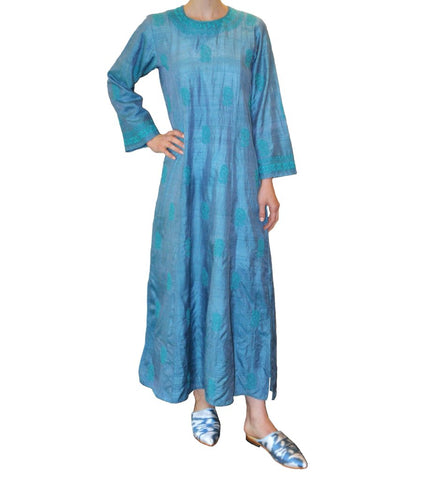 Mamta Embroidered Caftan: Blue