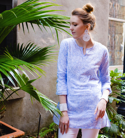 Block Printed Short Caftan: Indigo
