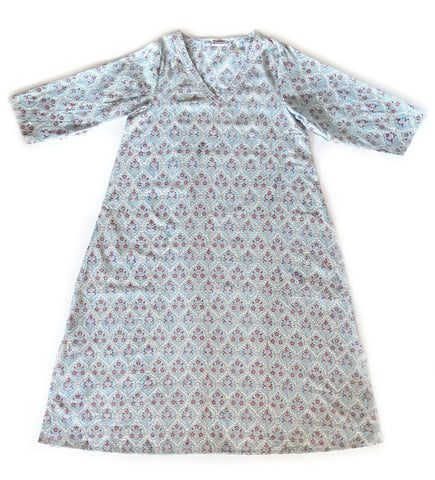 Manisha Cotton Caftan: Lavender Block Print