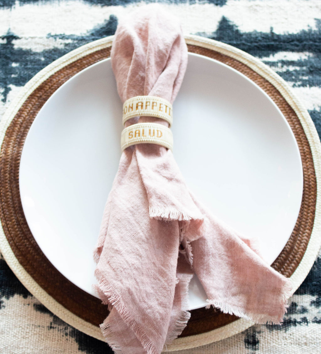 Stone Washed Linen Dinner Napkin: Blush