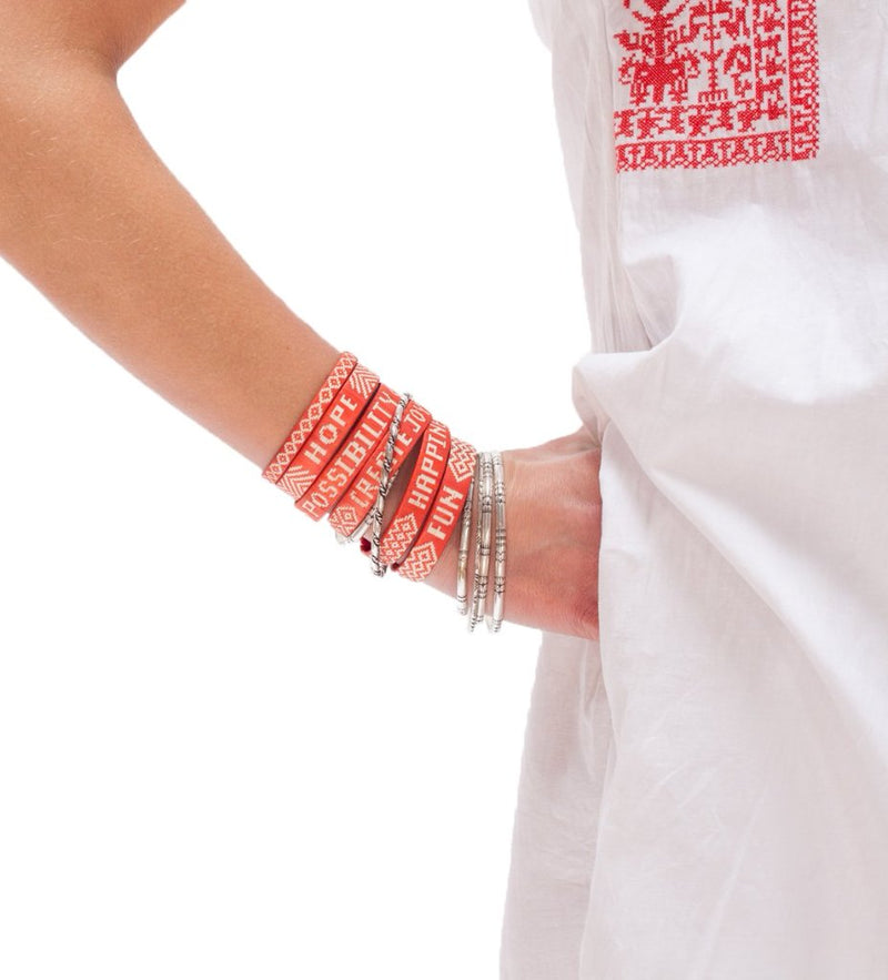 Ali's Mantra Cuffs: Red