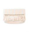 Woven Double Tassel Clutch: White and Navy