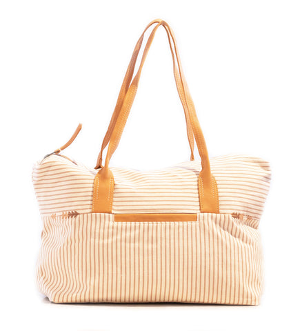 Belt Lines Tote: Nutmeg and White