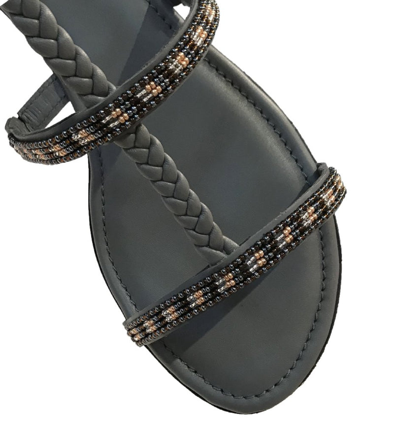 Metallic Beaded Sandal