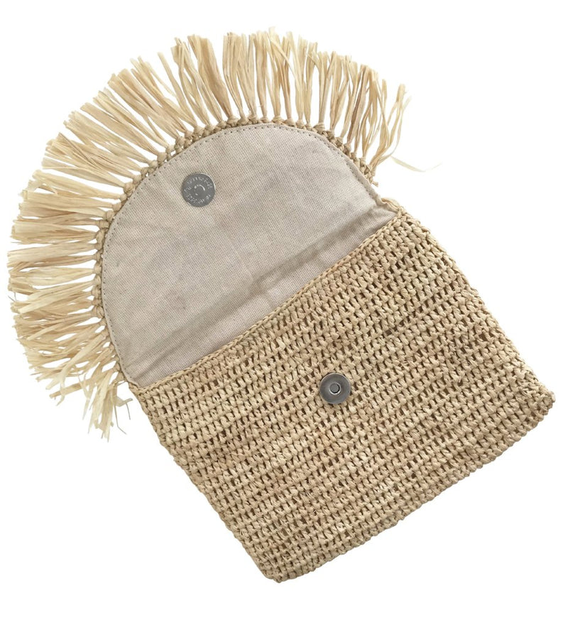 Mia Fringe Pouch: Natural