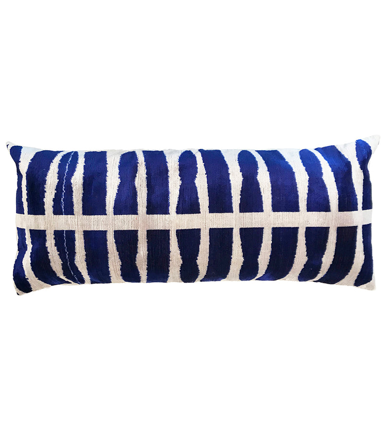 Midnight Velvet Ikat Pillow: Lumbar