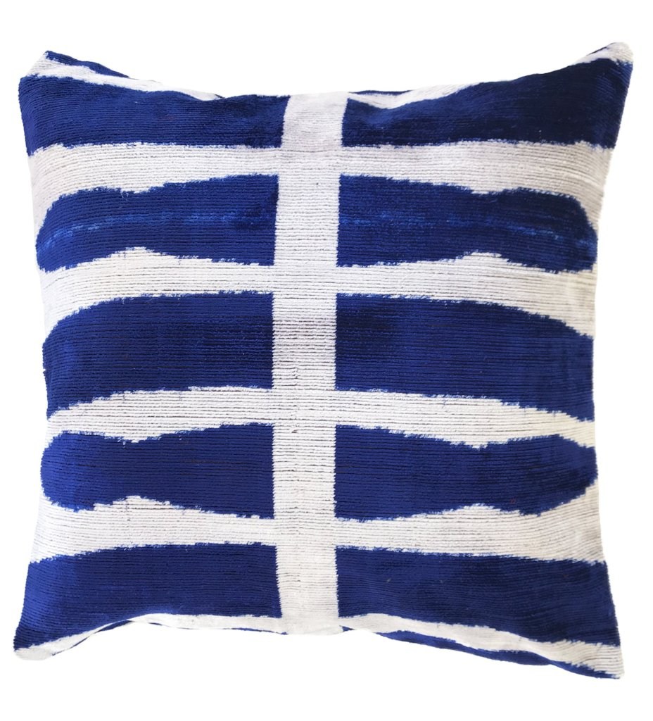 Midnight Velvet Ikat Pillow: Square