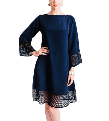 Josephine Dress: Dark Blue with Black
