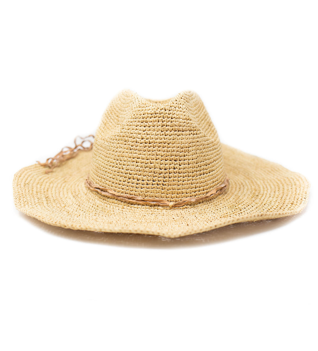 Mika Crocheted Hat with Leather Trim: Natural