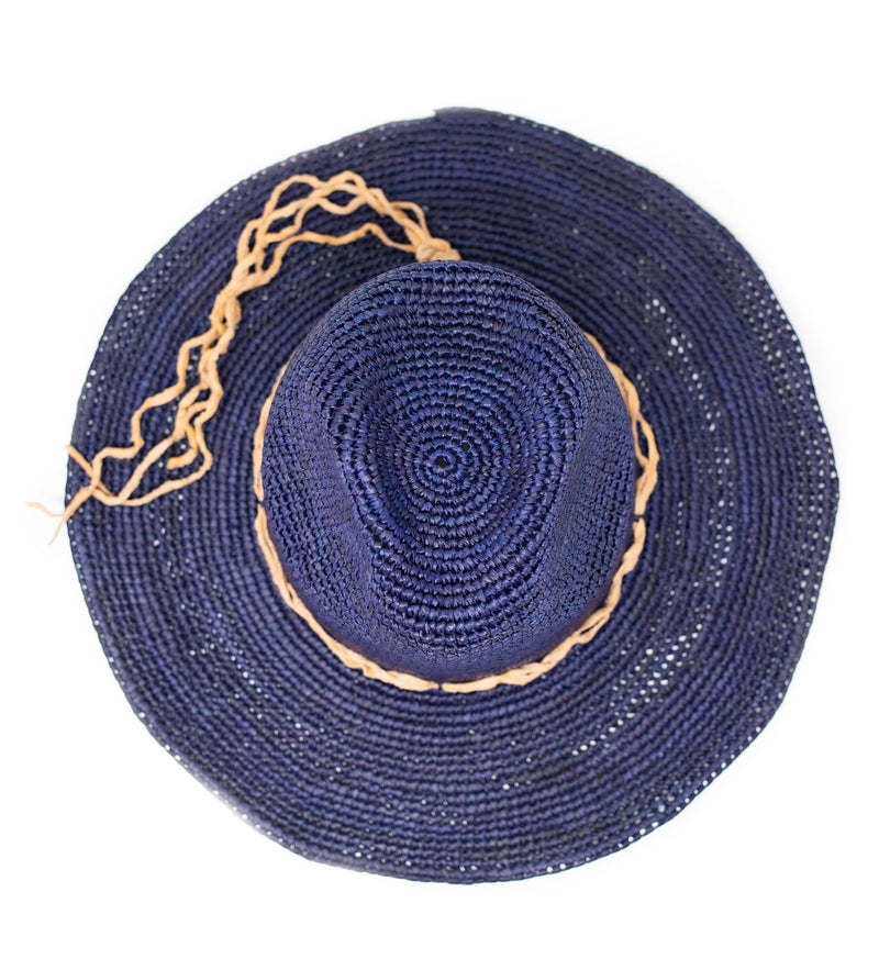 Mika Crocheted Hat with Leather Trim: Navy