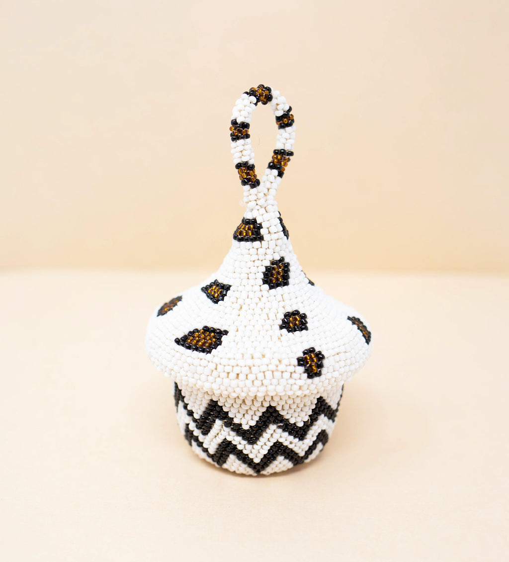 Mini Beaded Peach Casket: Leopard