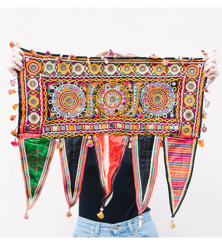 Vintage Indian Textile with Mirrors