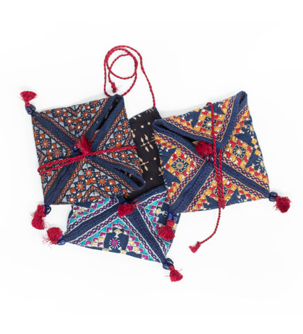 Ajrakh Star Pattern Zip Clutch