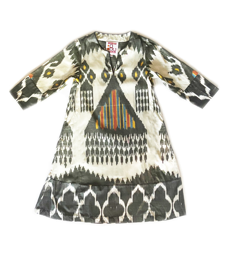 Mix Print Ikat A-Line Dress