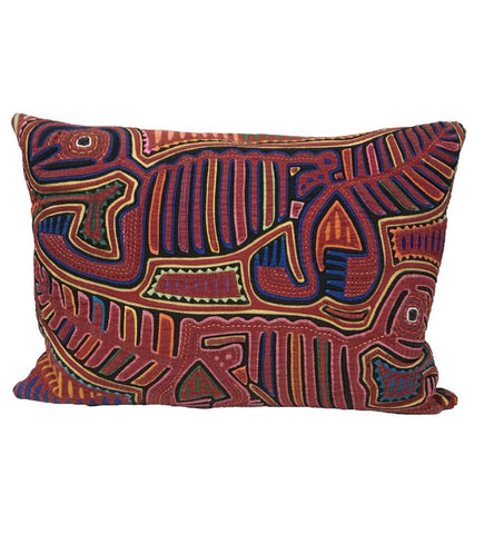 Turquoise African Strip Weaving Pillow: Lumbar