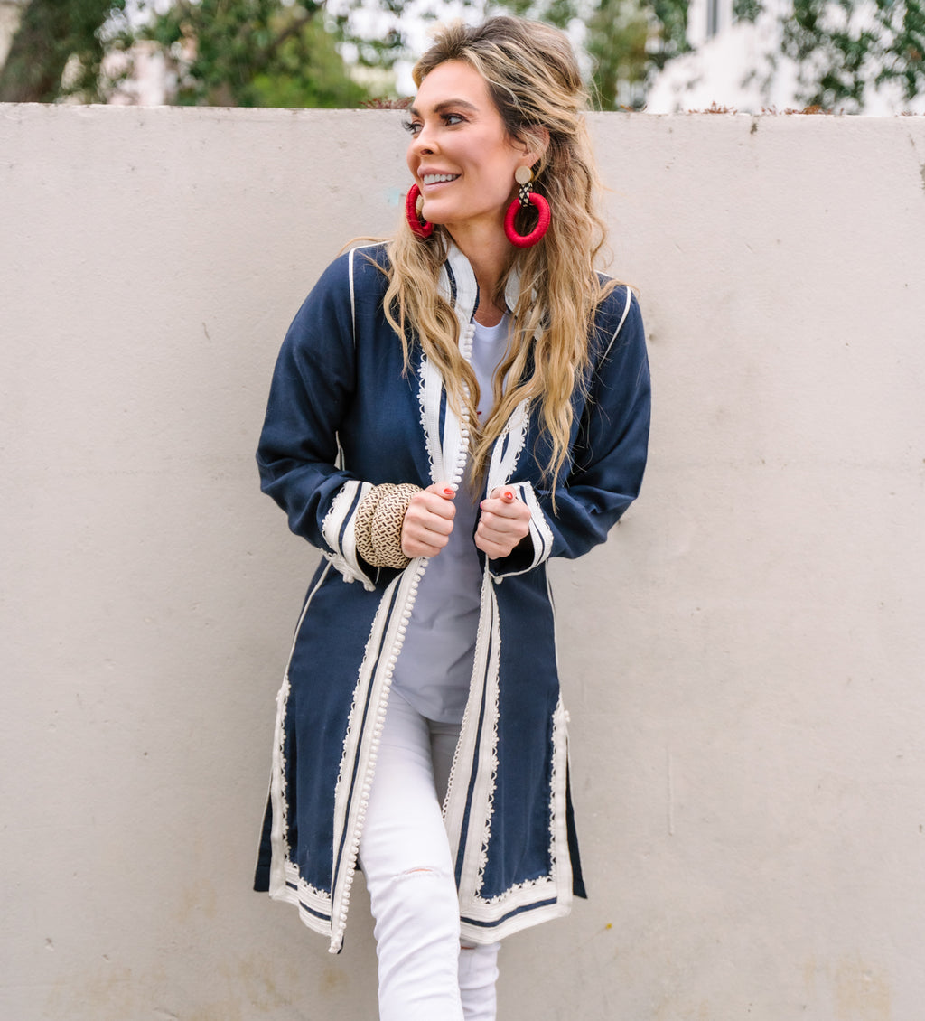 Linen Moroccan Jacket: Navy with White